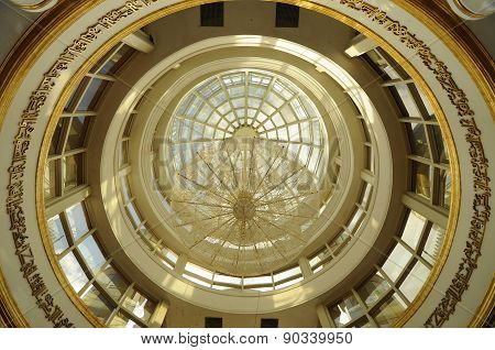 Inside main dome of The Crystal Mosque in Terengganu, Malaysia