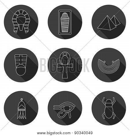 Set of icons on ancient Egypt theme