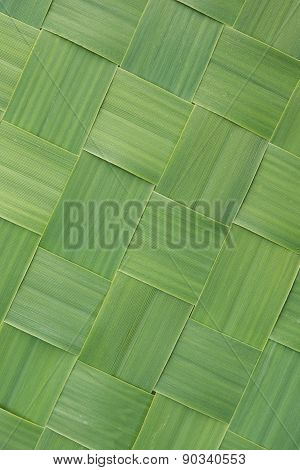 Diagonal pattern of woven grass leaves