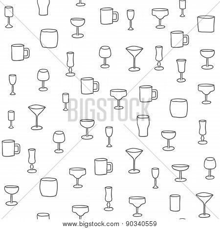 Seamless hand drawn background with alcohol glasses