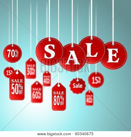 Sale Signs And Tag Hanging In Store For Promotion Shopping Concept