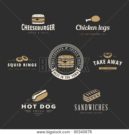 Fast food Retro Vintage Labels as Logo design vector template set.  Fast Food: Hot dog, Burger, Chicken legs, Donut, Sandwich Logotype icons.
