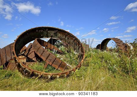 Steel industrial wheels in a pile