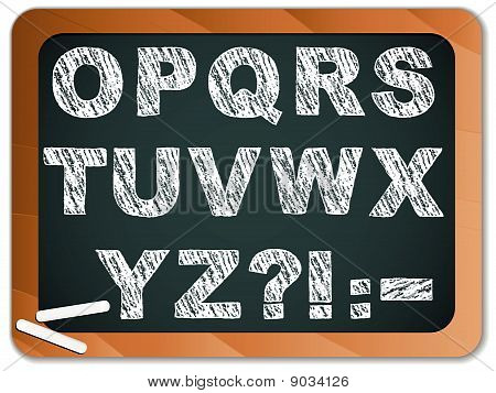 Chalk Alphabet Letters on Blackboard