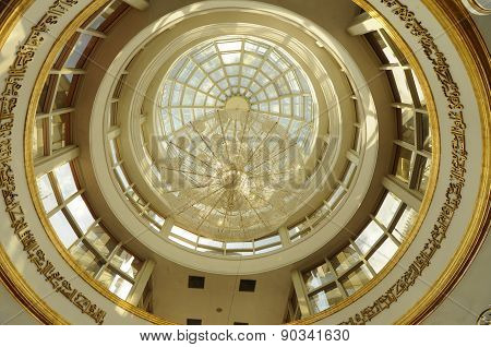 Inside dome of The Crystal Mosque or Masjid Kristal  in Terengganu, Malaysia