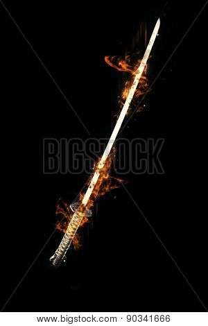 Japanese  katana sword on Dark background