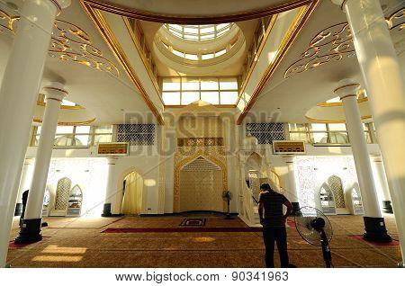 Interior of The Crystal Mosque or Masjid Kristal in Kuala Terengganu, Terengganu, Malaysia.