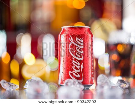 PRAGUE, CZECH REPUBLIC - may 5, 2015: Photo of can of Coca-Cola Classic. Coca-Cola is the one of the worlds favorite carbonated beverages.