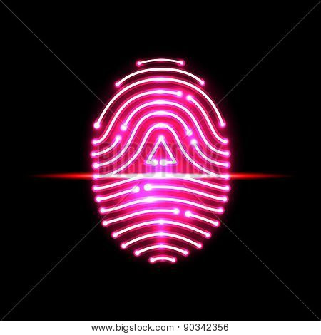Abstract Fingerprint Scan.letter A.identification And Security System.vector Illustration.