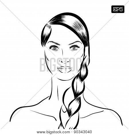 Woman vector portrait on a background.
