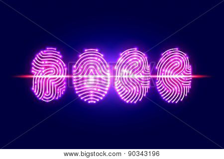Abstract Fingerprint Scan.pass With Fingerprint.identification And Security System.vector Illustrati