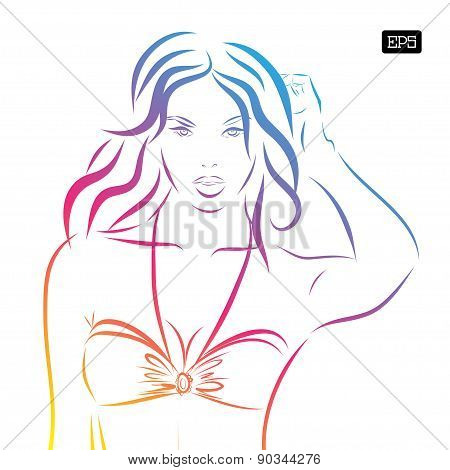 Vector girl in bikini on a white background.