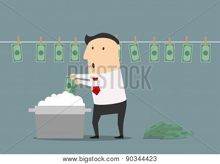 Cartoon businessman laundering illegal money