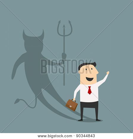 Cartoon businessman with true devil personality