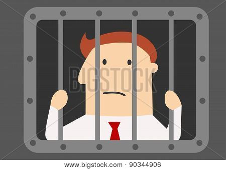 Cartoon businessman prisoner in jail