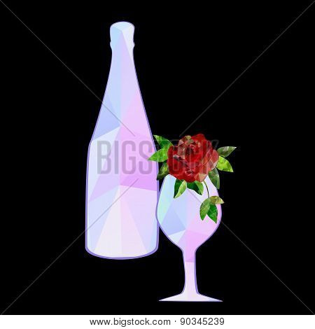 polygonal glass rose