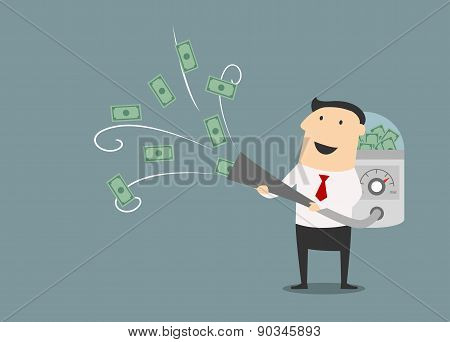 Cartoon businessman vacuuming up money