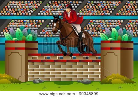 Equestrian In The Competition