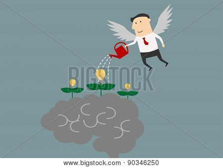 Winged businessman watering ideas on a brain