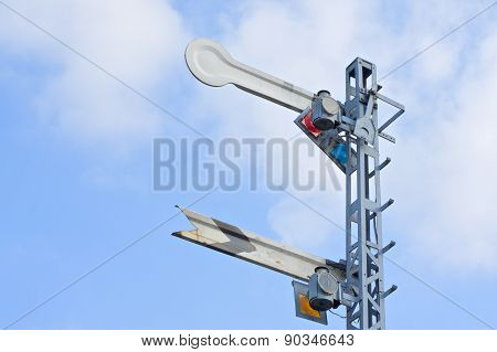 Signal Caution Pole Of Train With Cloud And Blue Sky