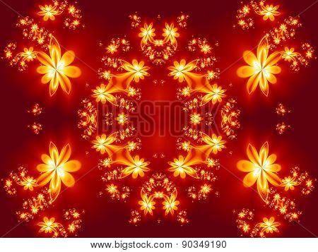Flower Fire Pattern In Fractal Design. Artwork For Creative Design, Art And Entertainment.