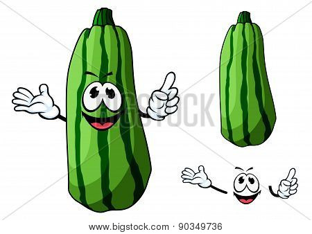 Happy green cartoon zucchini vegetable