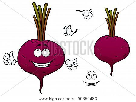 Happy cartoon beetroot vegetable character