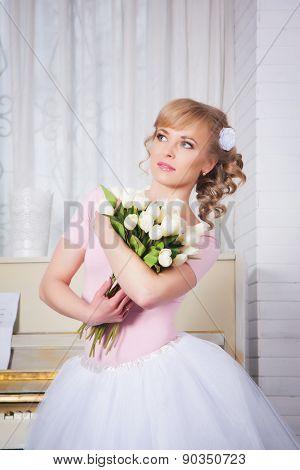 Beautiful Ballerina With Flowers