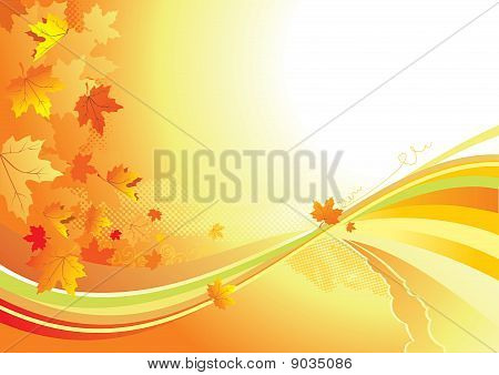 Autumn Background /  Gold Leaves Whith Copy Space For Yout Text