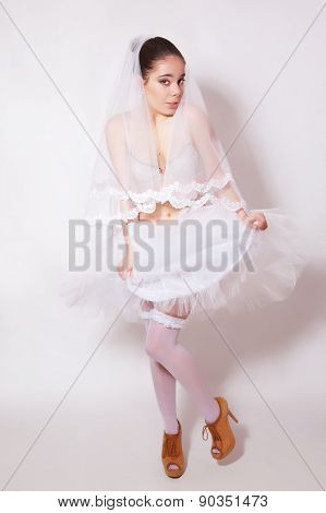 Bride In A Shoes, Skirt, Underwear And Stockings