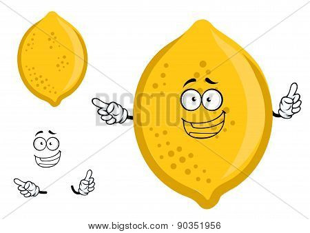Colorful yellow cartoon lemon fruit