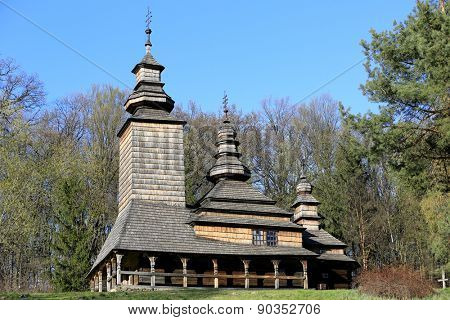 old wooden church in Ukrainian village