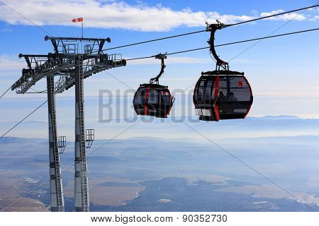 Ski lift on winter resort Tatranka Lomnitsa, Slovakia