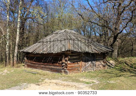 Traditional ukrainian wooden shed in open-air museum Pirogovo, Ukraine
