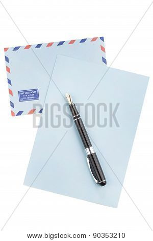 Vintage Air Mail Envelope And Fountain Pen