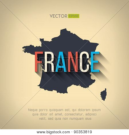 Vector france map in flat design. French border and country name with long shadow