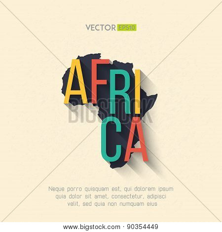Vector africa map in flat design. African border and country name with long shadow
