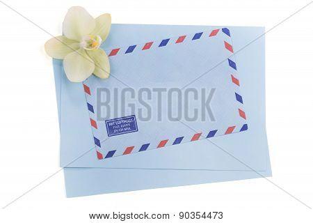 Vintage Air Mail Envelope With Orchid