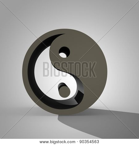 3d Yin and Yang sign, dual Chinese symbol of Taoism and concept of equilibrium between two main complementary opposite forces, with shadow and copy space on gray