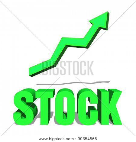Fluorescent green ascending arrow above the word stock, market financial concept showing growth of the cash flow through revenues and earnings of a successful company, with copy space on white