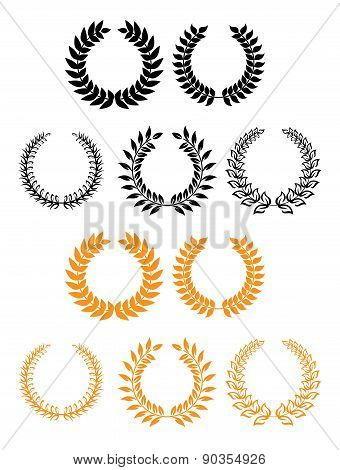 Heraldic set of foliate and laurel wreaths