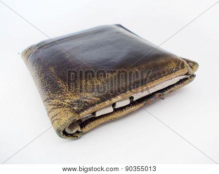 Worn brown leather wallet