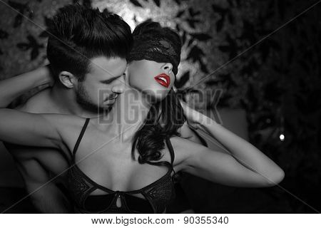 Passionate Couple Foreplay At Night Selective Coloring