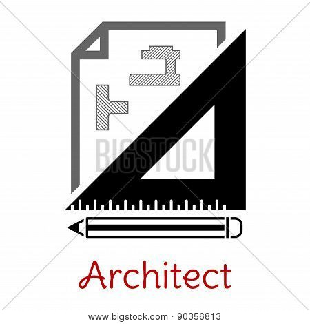 Black and white architect icon