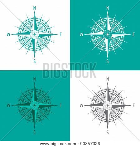 Detailed set Compass Windrose isolated on white.