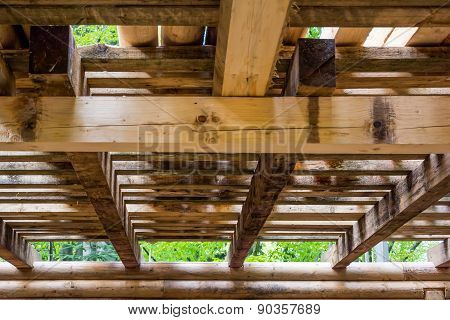 Interior Detail Of A Wooden Structure