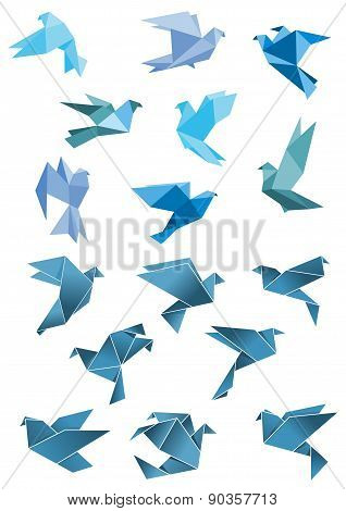 Origami paper stylized blue flying birds