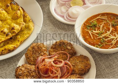 Dahi ka kebab with missi roti and panner adarki