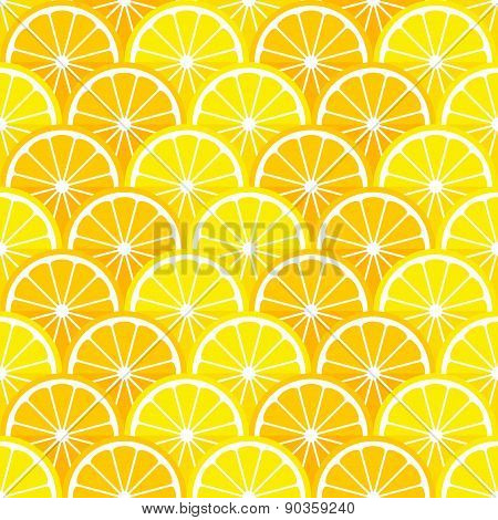 Seamless pattern with lemon and orange slices