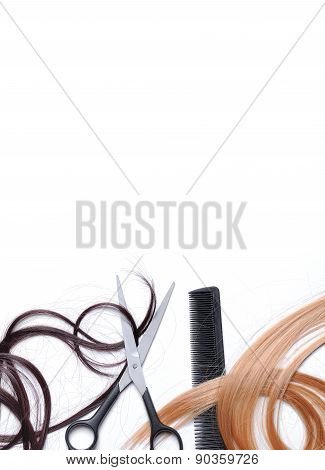 Scissors And Comb With Brown And Blond Hair Isolated Down